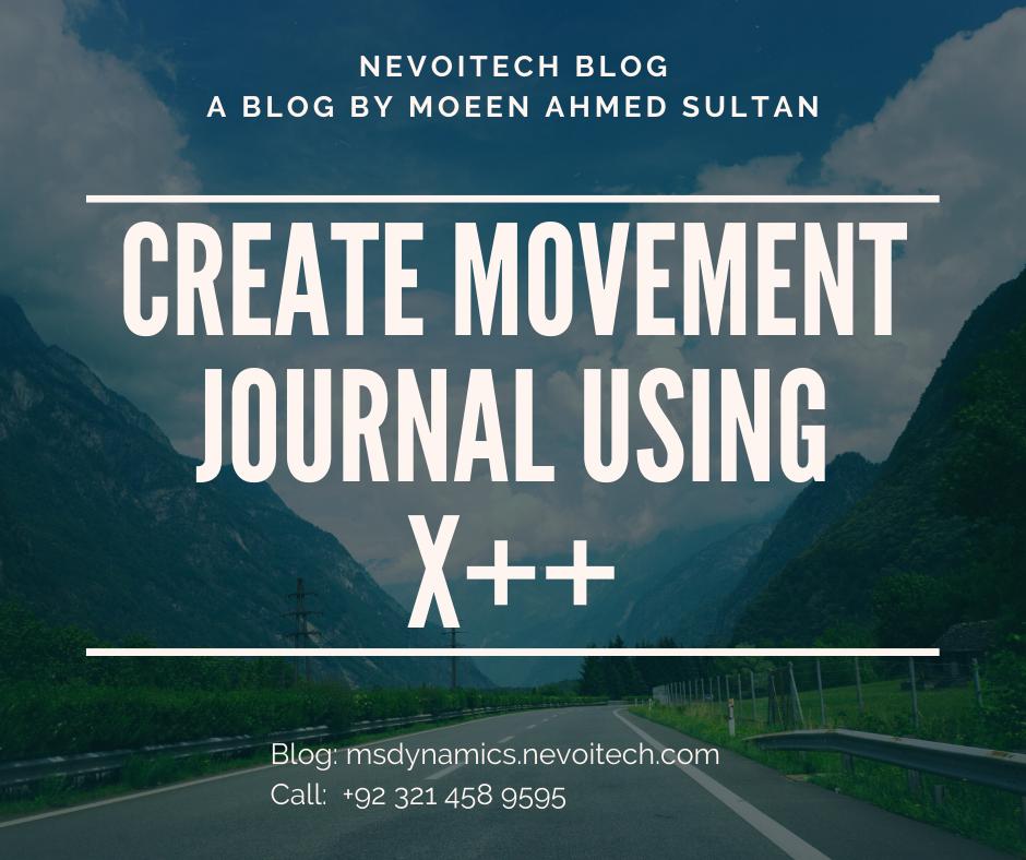 Create movement journal using X++