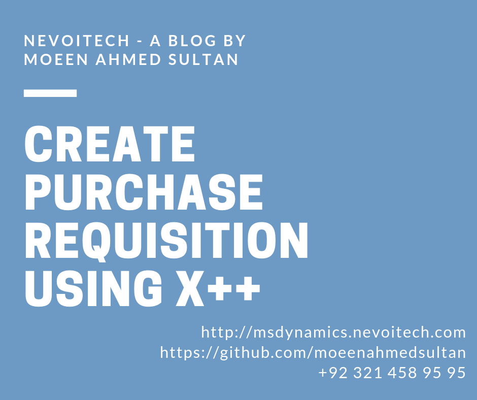 Create purchase requisition using x++