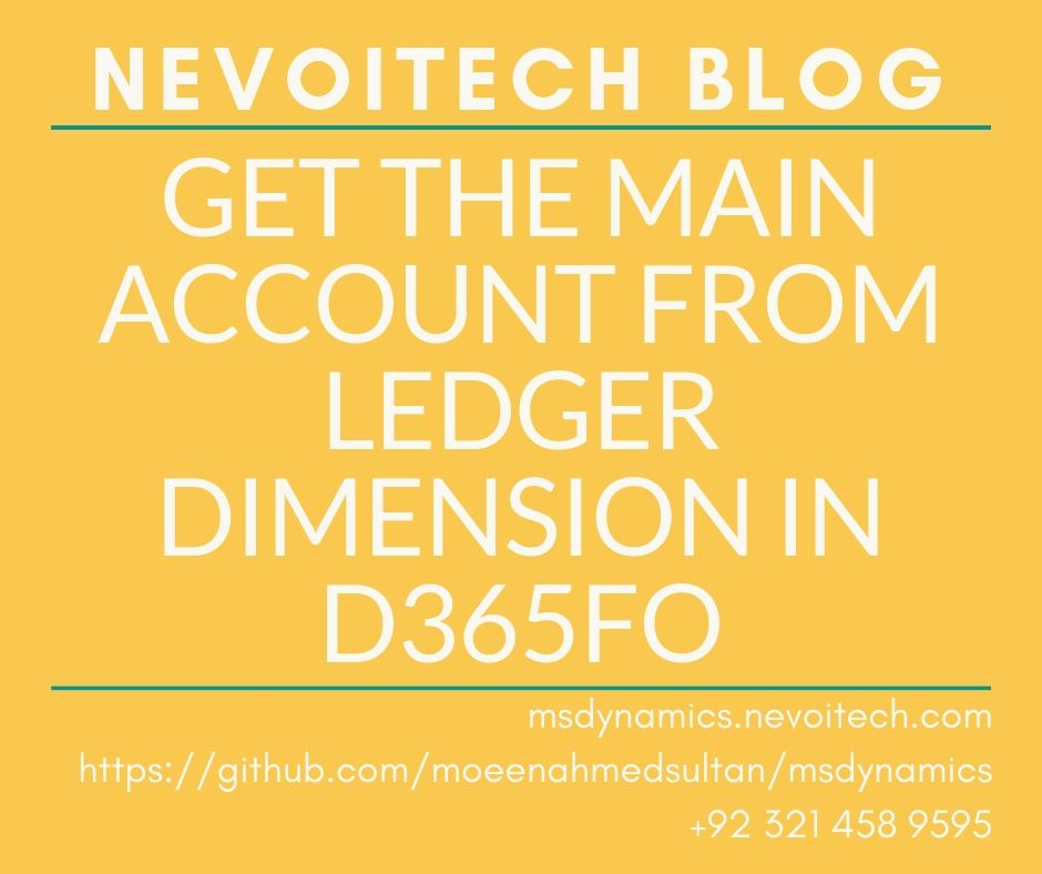 Get main account from ledger dimension in D365FO